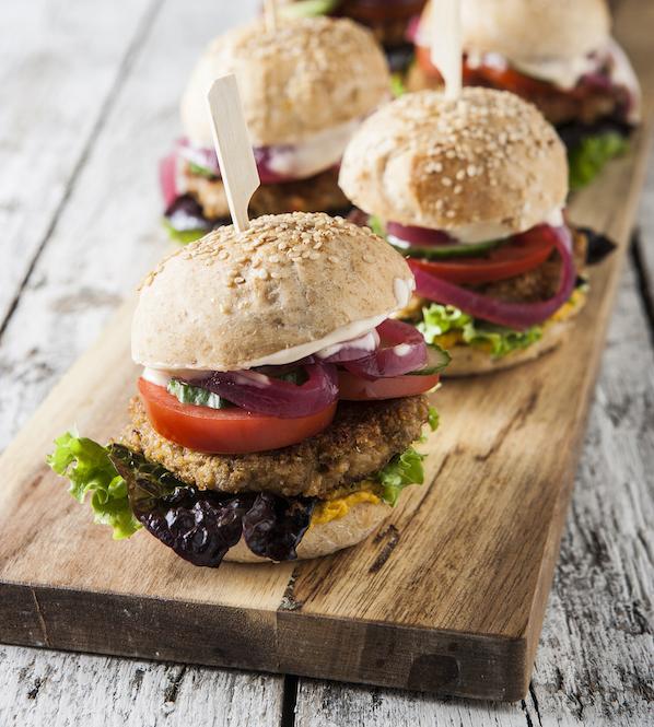 vegetar burger med linseboef