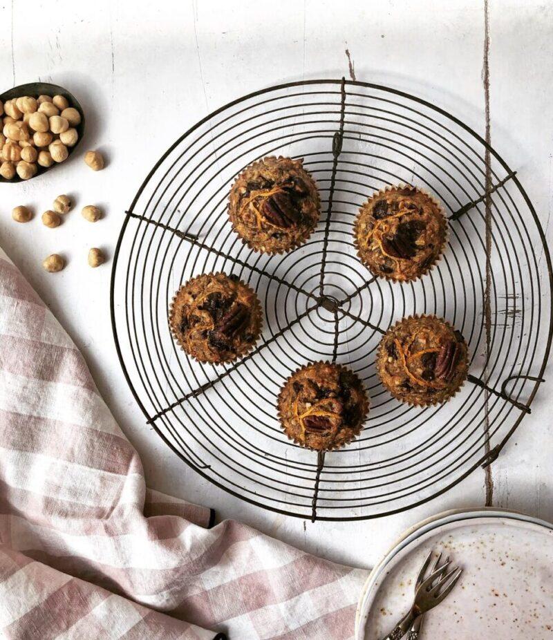 Gulerodsmuffins med mandler og linsemel