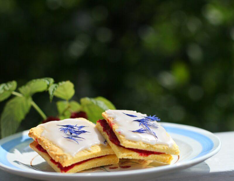 glutenfri hindbærsnitter med blå kornblomster på en lyseblå tallerken i naturen